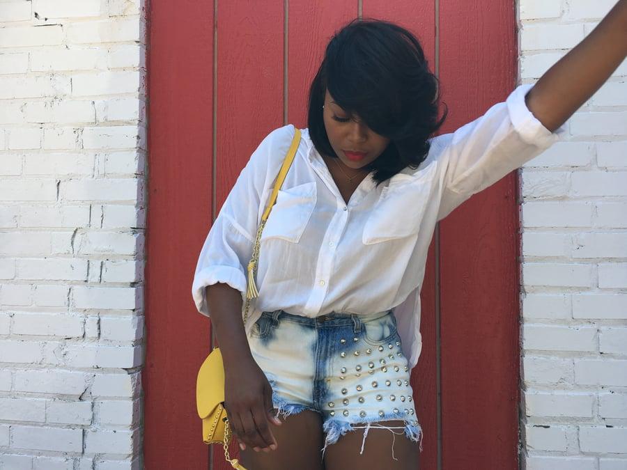 Image of Bleached Studded Slasher Shorts