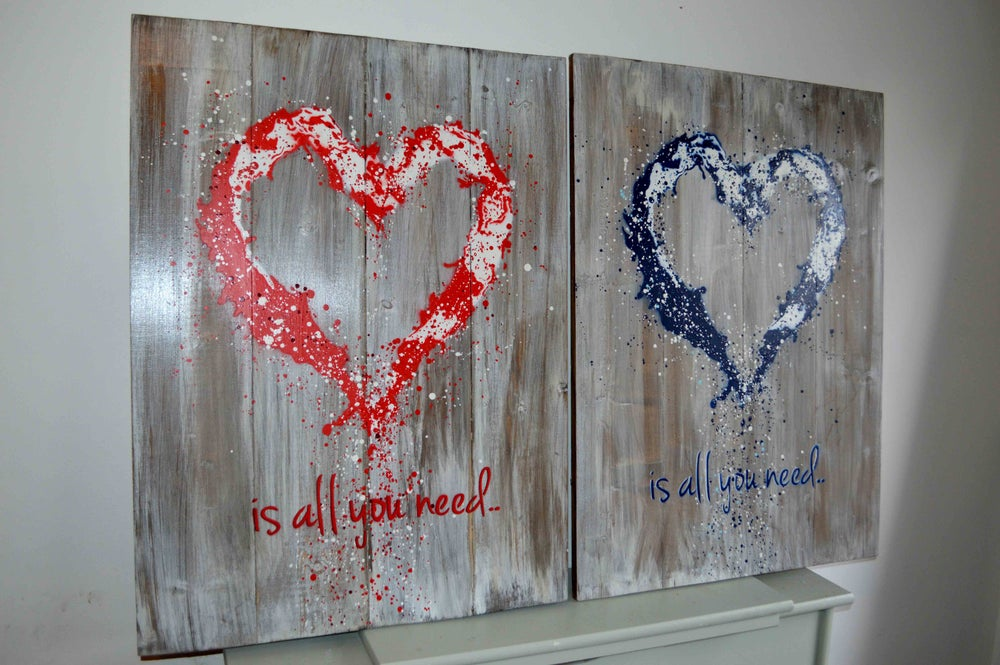 """Image of """"John Lennon was Right!"""" Reclaimed Wooden Boards Red"""