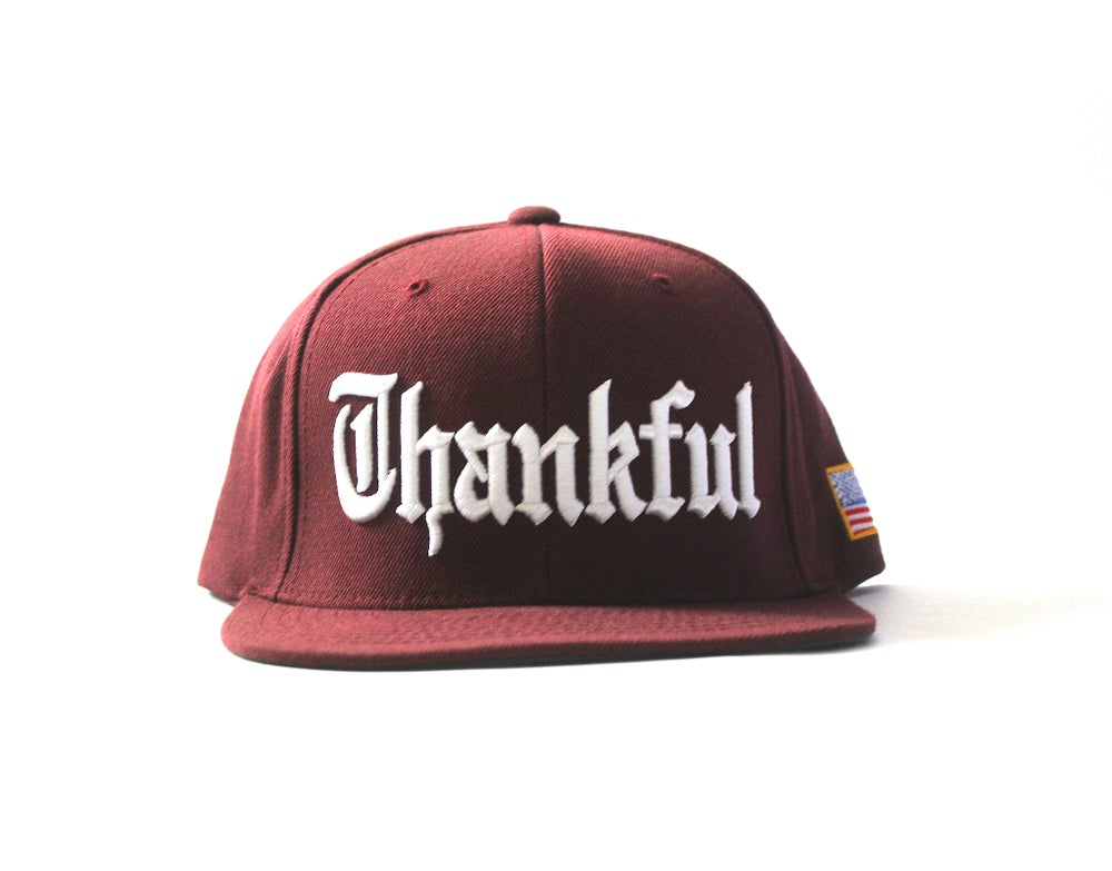 Image of OLD ENGLISH THANKFUL SNAPBACK (BURGUNDY)