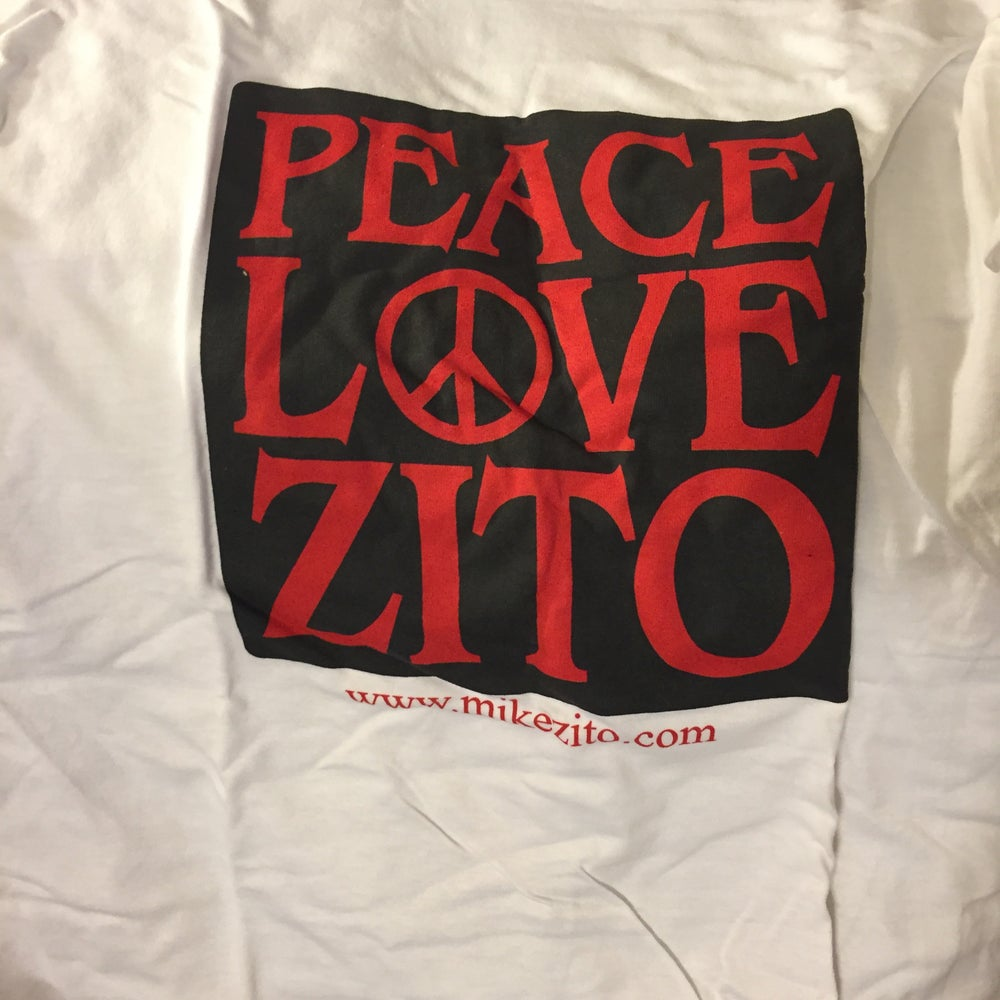 Image of PEACE LOVE ZITO (white) - MENS T-SHIRT