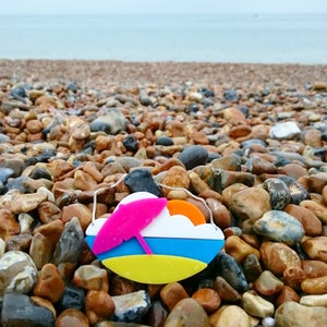 Image of Parasol and Sandcastle Sunset Necklaces