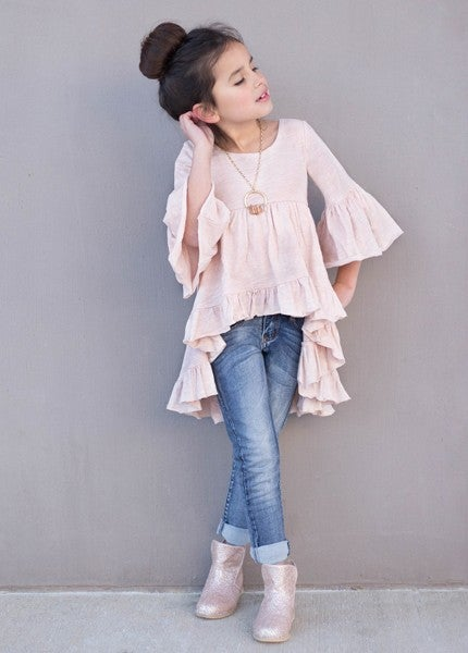 Image of Joyfolie Boho Hi Lo Top in Blush