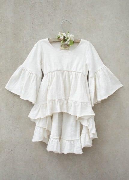 Image of Joyfolie Boho Hi Lo Top in White