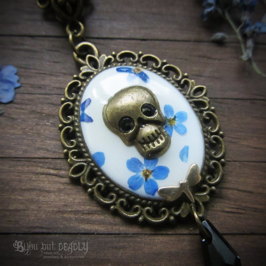 Image of Forget-me-not Pressed Flower Skull Cameo Necklace