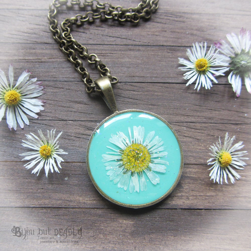 Image of Pressed Daisy Turquoise Pendant