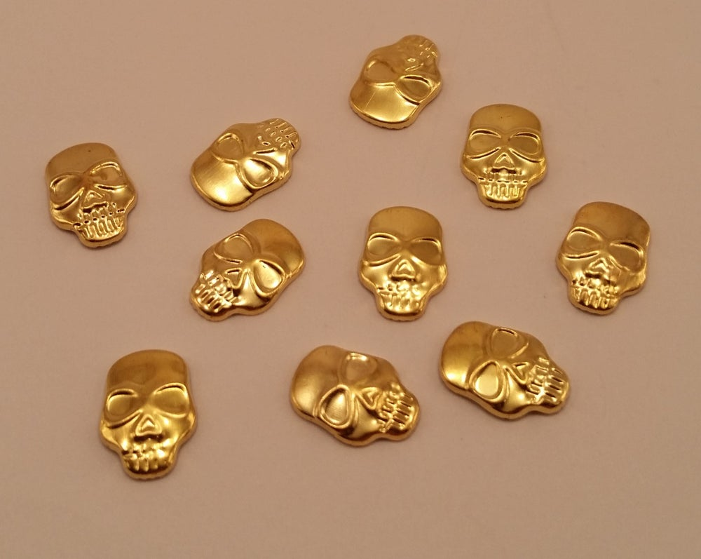 Image of Skull nail charms (10 pcs) 11x9mm Gold, silver or bronze