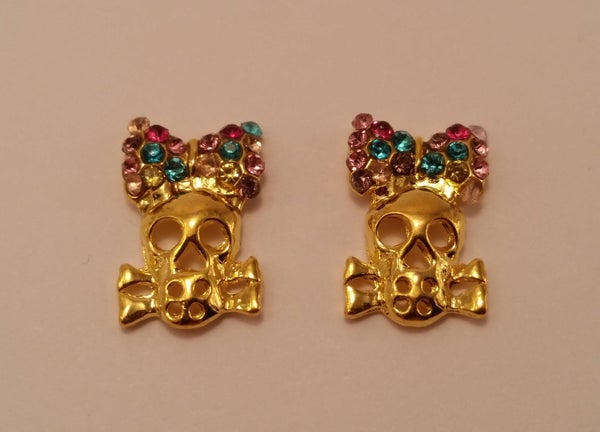 Image of Girly skull with bling bow (2 pcs) 16x12 Gold
