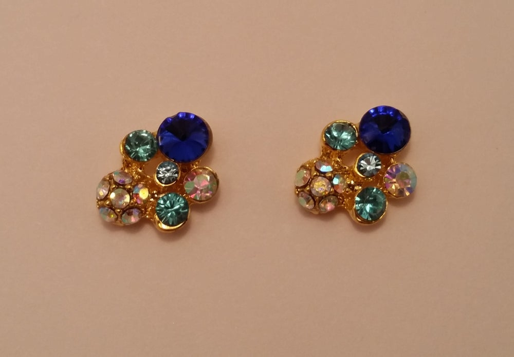 Image of Bling blue cluster nail charms (2 pcs) 14x11mm