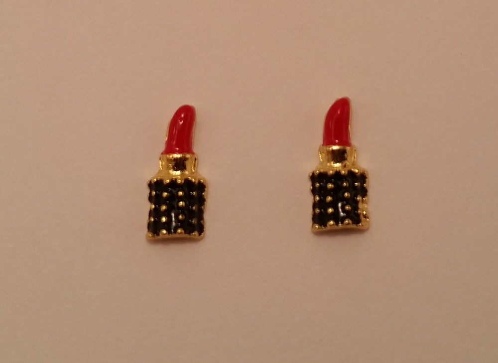 Image of Lipstick nail charms (2 pcs) 10x5mm