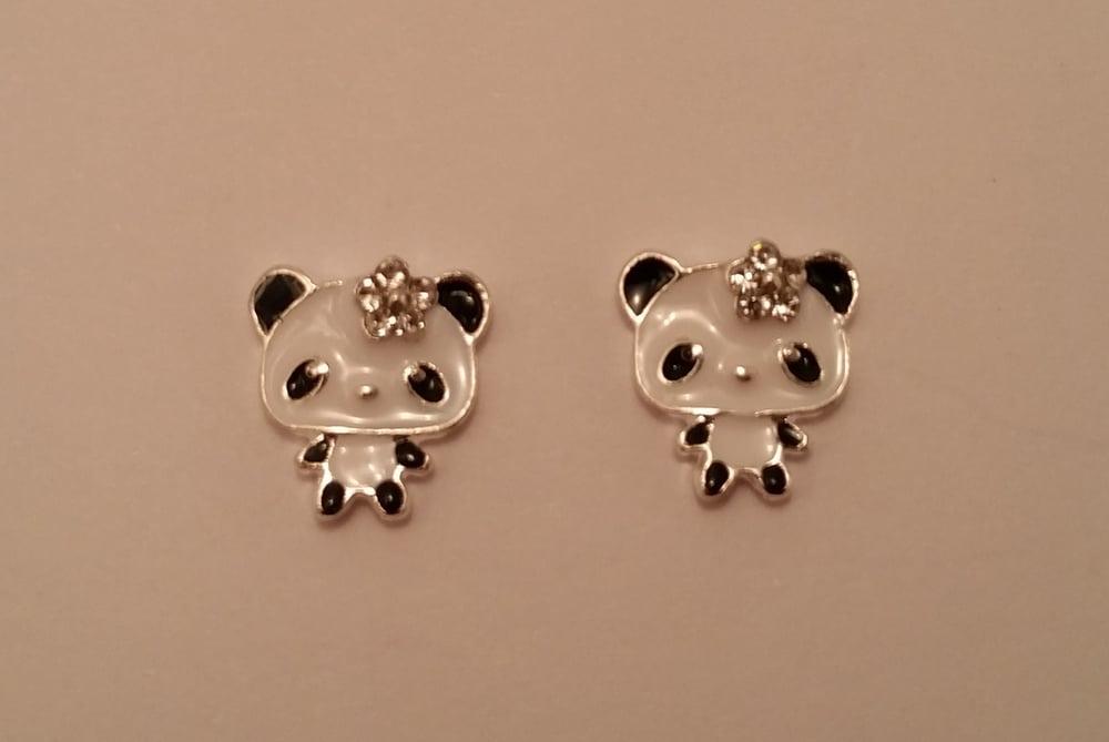 Image of Panda nail charms (2 pcs) 12x12mm Black/white