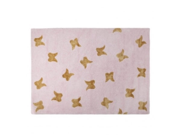 "Image of Lorena Canals Washable Rugs | Wings Pink - Gold 4'8""x6'7"""