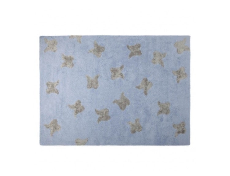 "Image of Lorena Canals Washable Rugs | Wings Blue - Silver 4'8""x6'7"""