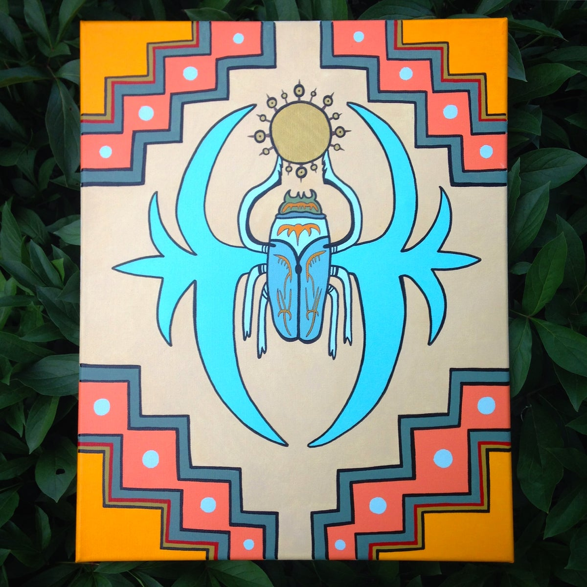 "Image of Cosmic Architect ""Celestial Scarab"" Painting"