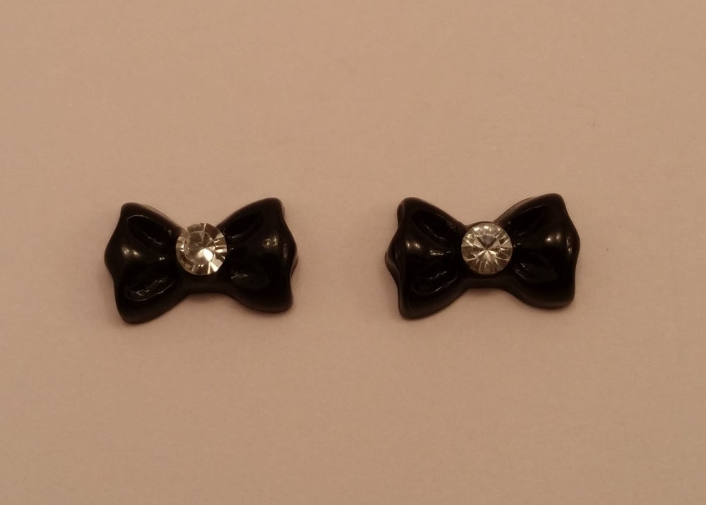 Image of Bow with stone centre (2 pcs) 11x8mm Black, pink, yellow, lilac & red