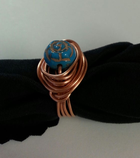 Image of Copper Ring w/Teal Bead