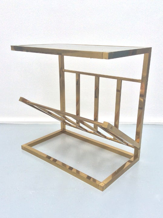 Image of Brass Side Table with Magazine Rack