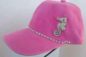 Image of Acid Washed Baseball Hat with Crystal Seahorse