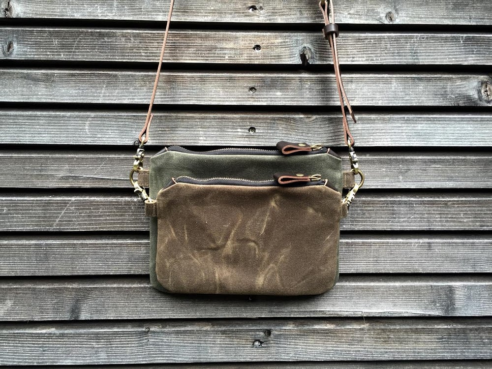 Image of waxed canvas day bag/ small messenger bag/ kangaroo bag with waxed leather shoulderstrap