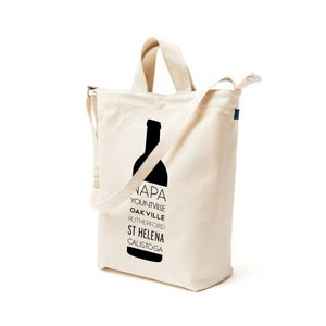 Image of Napa Valley Wine Bottle Duck Canvas Tote Bag