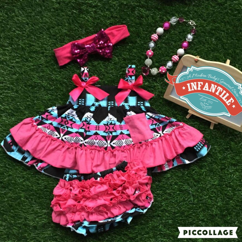 Image of Bright Blue Hot Pink Boho Babe Swing Top, Turquoise Aqua Pink Aztec & Ruffle Bloomers; Summer