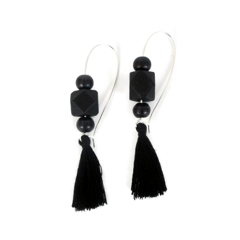 Image of Geometric Bead and Tassel Earrings