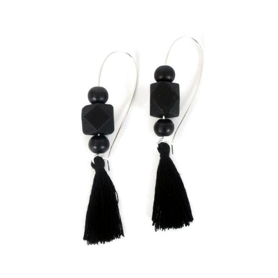 Image of Geometric Bead and Tassel Earrings