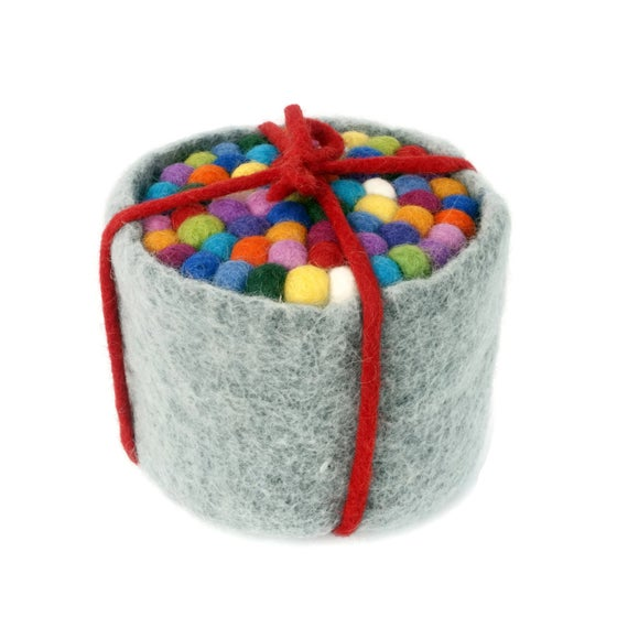 Image of Pot of Six Felt Ball Coasters