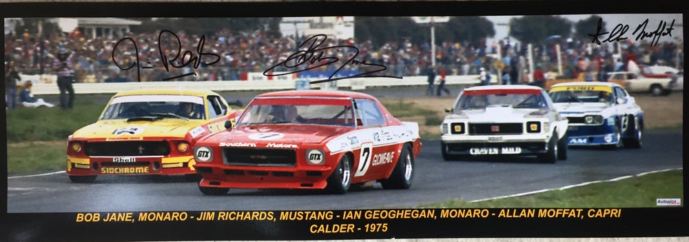 Image of Calder Sports Sedans. Framed and signed by Allan Moffat, Bob Jane & Jim Richards. Limited release.