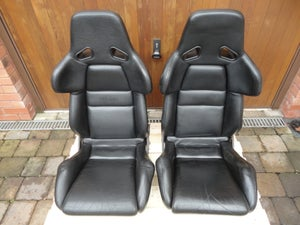 Image of 2x Genuine RECARO A8 Gen2 Pair Black Leather Hardback Race Seat Porsche Audi VW