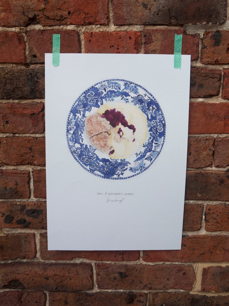 Image of Apple and Blackberry Crumble - A3 Print