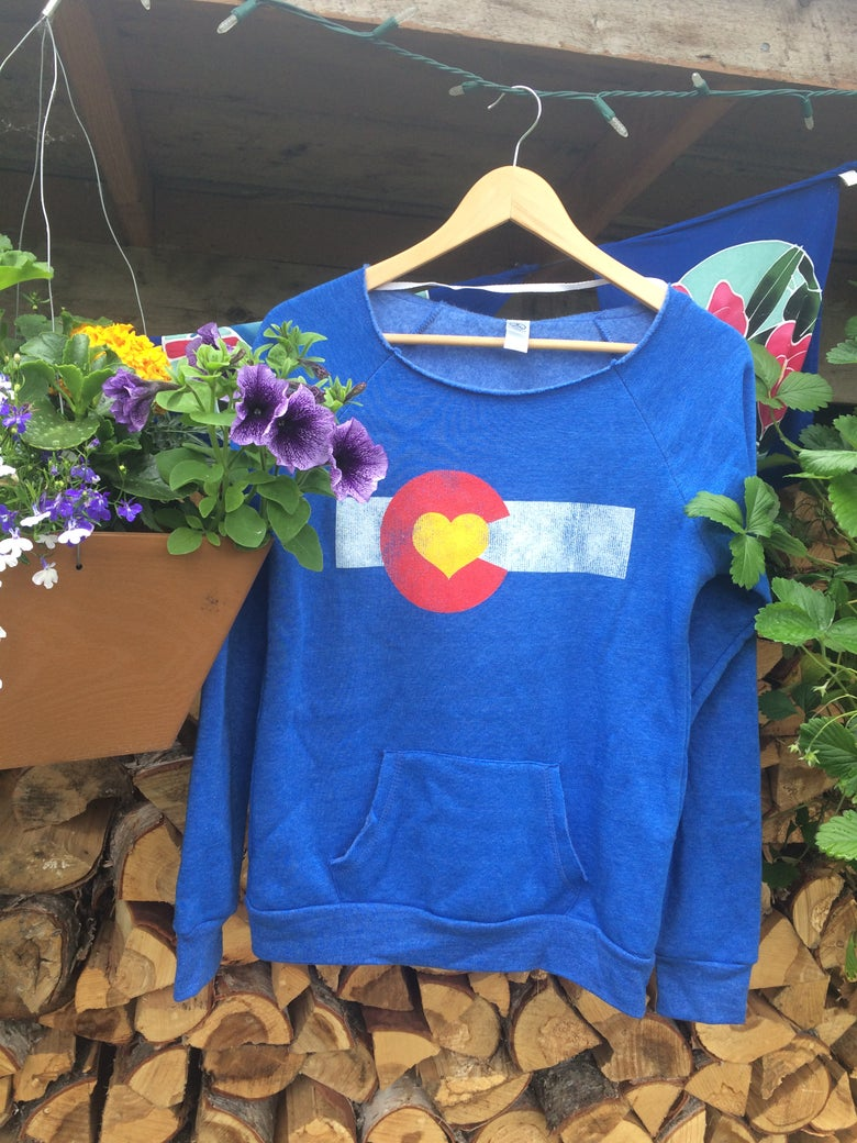 Image of Colorado Love Slouchy Sweatshirt- Pacific Blue