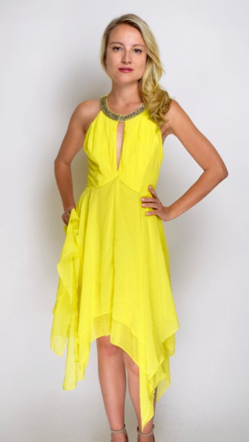Image of Halted Yellow Dress