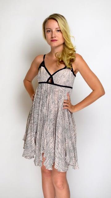 Image of Asymmetrical Light Pink & Black Trimmed Dress