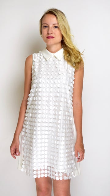 Image of Circle White Front  Sequenced  Dress