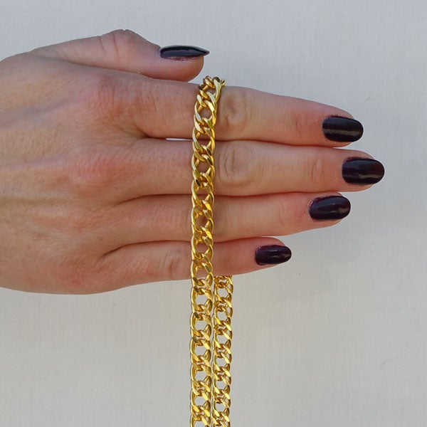 "Image of GOLD Chain Purse Strap - Diamond Cut Double Curb - 3/8"" Wide - Choice of Length & Clasp"