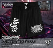 Image of INFECTING THE SWARM black mesh shorts
