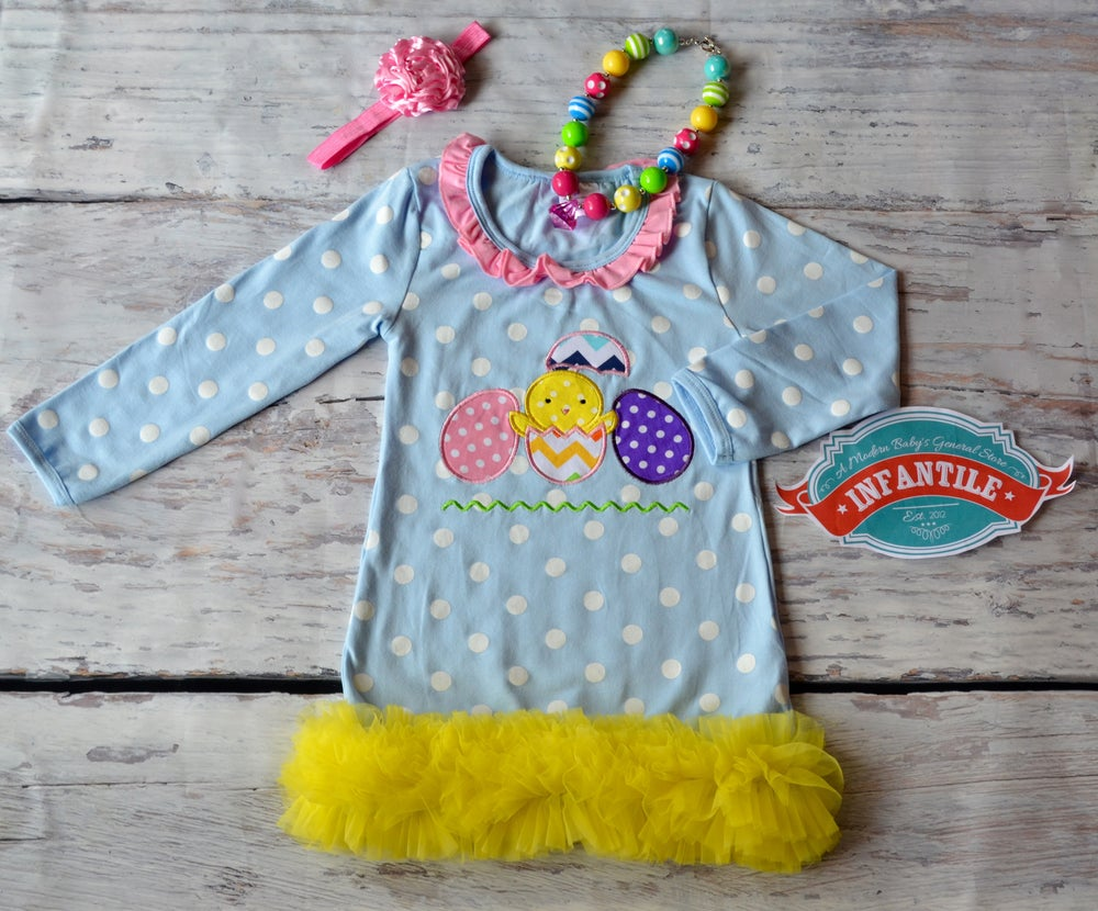 Image of One Cute Chick Easter Outfit, Girl Easter Dress, Ruffle Dress, Yellow Ruffle Trim, Egg Hunt, Fiesta