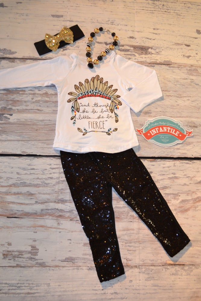 Image of Though She Be But Little She Is Fierce Outfit, Baby Toddler Little Girl, Indian Design