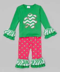Image of Green & Bright Pink St. Patrick's Day Outfit, Green Shamrock Top and Ruffle Pant Set, Sisters