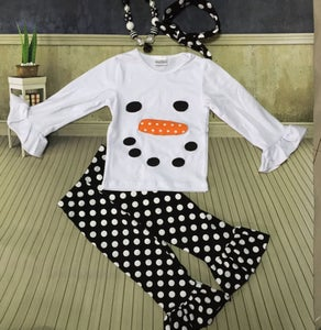 Image of Frosty The Snowman Outfit, Ruffle Pants, Sister Set, Polka Dot Double Ruffle Pant, Baby Little Girl