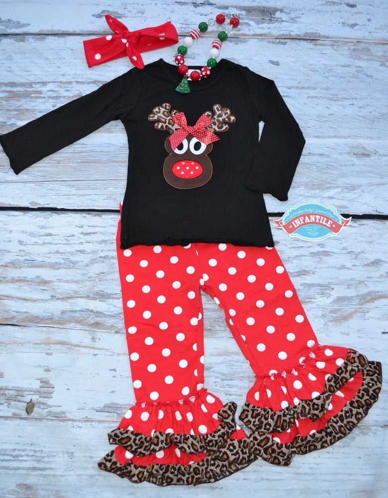 Infantile Little Reindeer Christmas Outfit Ruffle Pants