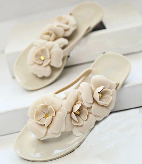 Image of Floral Flip Flops
