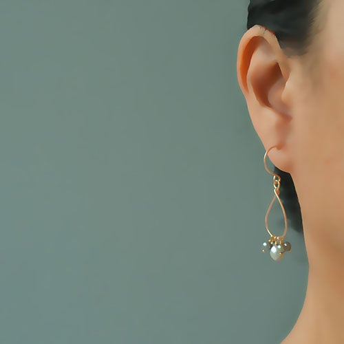 Image of Gray pearl earrings dangle 14kt gold-filled