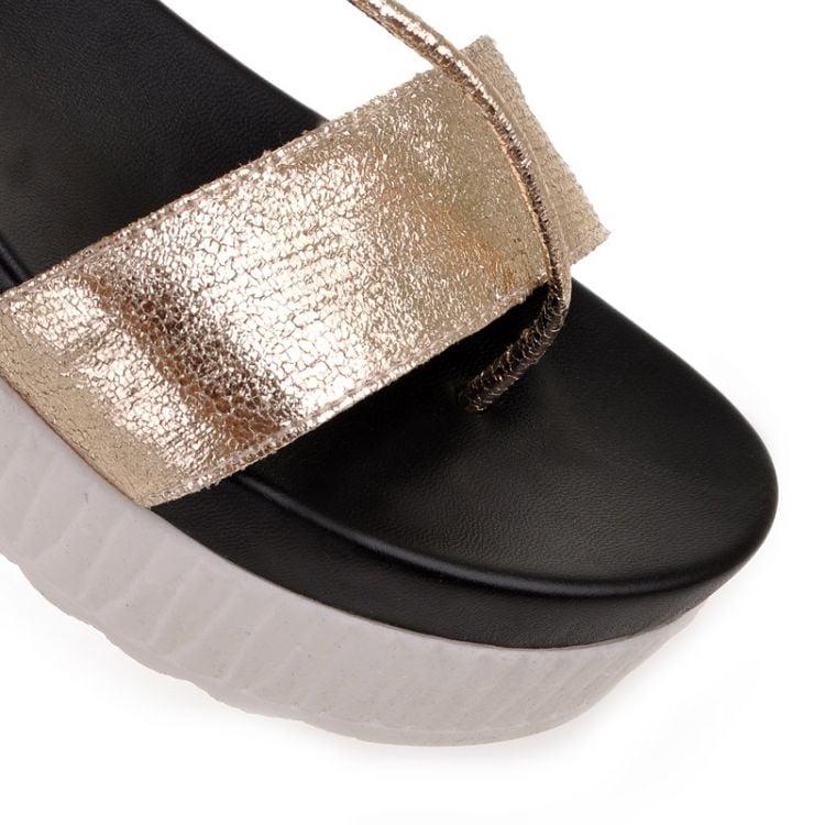 Image of BLK/GLD Flatform Sandals