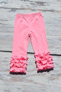 Image of Iced Ruffle Leggings/Capris in four Summer colors, Baby Toddler Girl Pants, Photos, Back to School