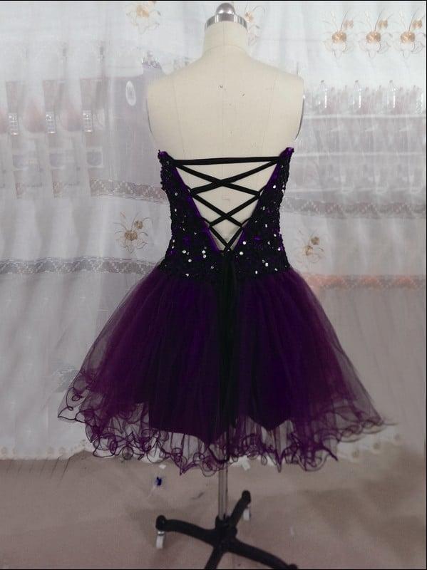 Cute Dark Purple Handmade Tulle Knee Length Prom Dresses, Homecoming Dresses