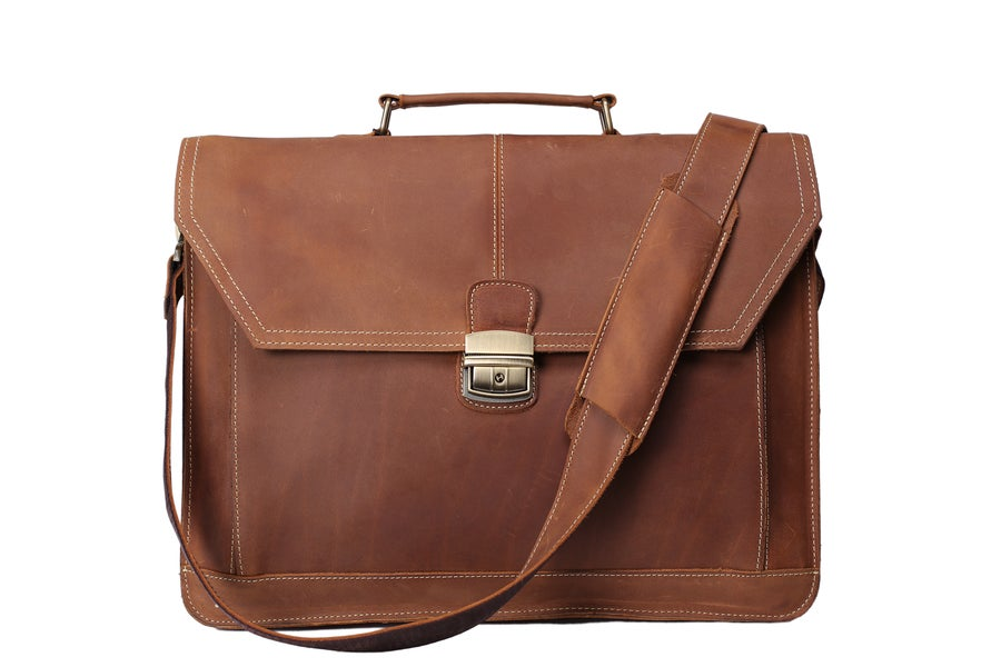 Image of Handmade Vintage Leather Briefcase Men Messenger Bag Laptop Bag 7083
