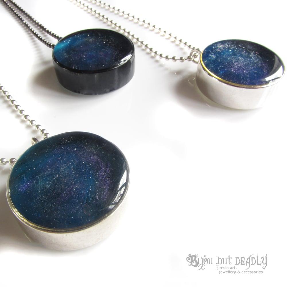 Blue Nebula Resin Pendant