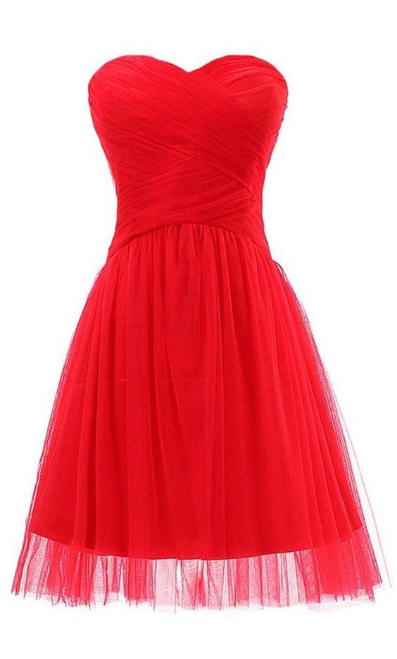 Lovely Tulle Red Short Prom Dresses, Homecoming dresses, Red Prom Dresses