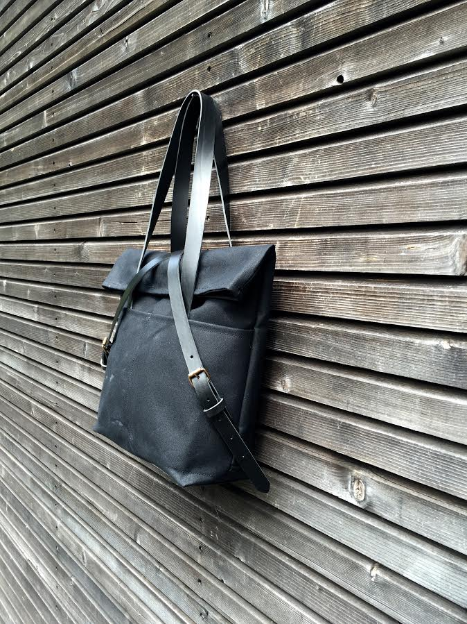 Image of Waxed canvas tote bag with leather handles and fold to close top / waterproof tote bag